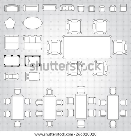 Royalty free set of simple 2d flat vector icons 266817638 stock set of simple 2d flat vector icons furniture for floor plan outline on blueprint technical grid malvernweather Choice Image