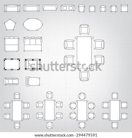 Set Of Simple 48d Flat Vector Icons Furniture For Floor Plan Outline Gorgeous Blueprint Interior Design Set