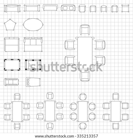 Royalty Free Standard Furniture Symbols Used In 384499972 Stock Photo