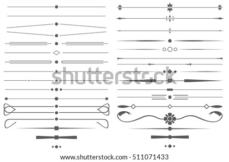 Set of Simple Decorative Page Dividers and Design Elements. Vector Illustration.