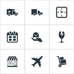 Set Of 9 Simple Delivery Icons. Can Be Found Such Elements As Packaging, Day, Caravan And Other.