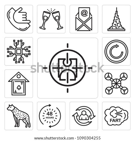 Set Of 13 simple editable icons such as active shooter, fart, lifecycle, 48 hours, hyena, free drone, clubhouse, try again, bigdata can be used for mobile, web UI