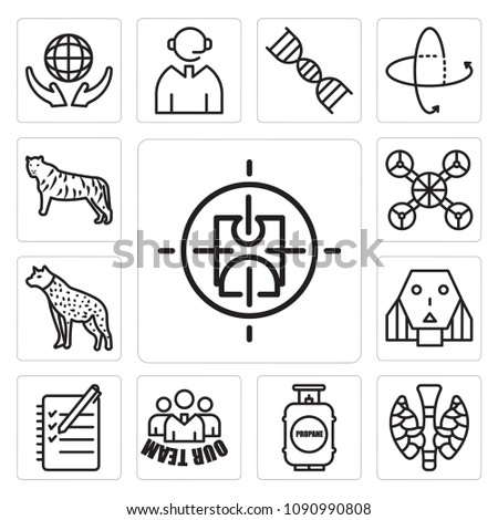 Set Of 13 simple editable icons such as active shooter, thyroid, propane tank, our team, logbook, female robot, hyena, free drone, golden tiger can be used for mobile, web UI