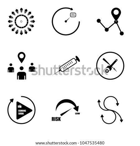 Set Of 9 simple editable icons such as agile, lower risk, photo coming soon, troubleshooting, chemotherapy, you are here, roadmap, next level, chiller, can be used for mobile, web UI