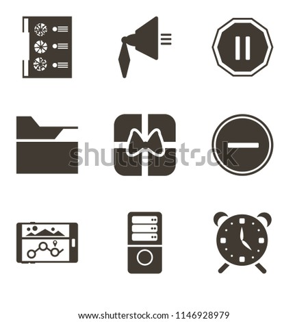 Set Of 9 simple editable icons such as Alarm, Server, Navigation, Substract, Gift, Folder, Pause, Speaker, Menu, can be used for mobile, pixel perfect vector icon pack