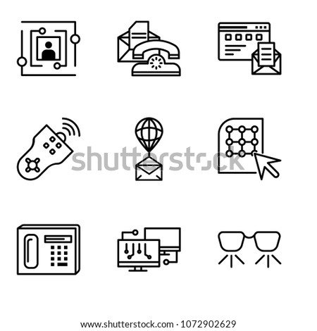 Set Of 9 simple editable icons such as Ar glasses, Network, Phone, Click, Air balloon, Remote control, Browser and mail, Telephone, User, can be used for mobile, web UI, pixel perfect icons