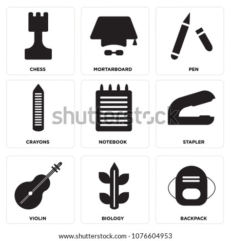 Set Of 9 simple editable icons such as Backpack, Biology, Violin, Stapler, Notebook, Crayons, Pen, Mortarboard, Chess, can be used for mobile, web UI