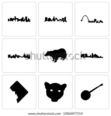 set of 9 simple editable icons