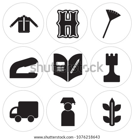 Set Of 9 simple editable icons such as Biology, Graduate, School bus, Chess, Homework, Stapler, Pom pom, High school, Jacket, can be used for mobile, web UI
