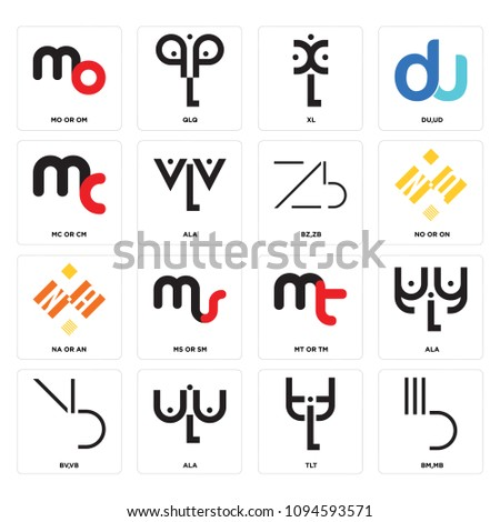 set of 16 simple editable icons