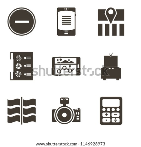 Set Of 9 simple editable icons such as Calculator, Photo camera, Flag, Television, Navigation, Menu, Map, Smartphone, Substract, can be used for mobile, pixel perfect vector icon pack