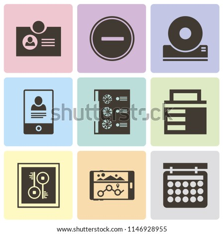 Set Of 9 simple editable icons such as Calendar, Navigation, Key, Lock, Menu, Smartphone, Compact disc, Substract, Id card, can be used for mobile, pixel perfect vector icon pack