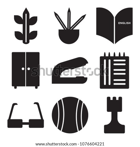 Set Of 9 simple editable icons such as Chess, Football, Glasses, Notebook, Stapler, Lockers, Padlock, Pencils, Biology, can be used for mobile, web UI