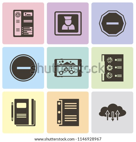 Set Of 9 simple editable icons such as Cloud computing, Notebook, Menu, Navigation, Substract, Minus, User, Resume, can be used for mobile, pixel perfect vector icon pack
