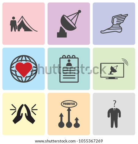 Set Of 9 simple editable icons such as consider, prioritize, folded hands, cable tv, roster, social responsibility, foot with wings, cable tv, refugee, can be used for mobile, web UI