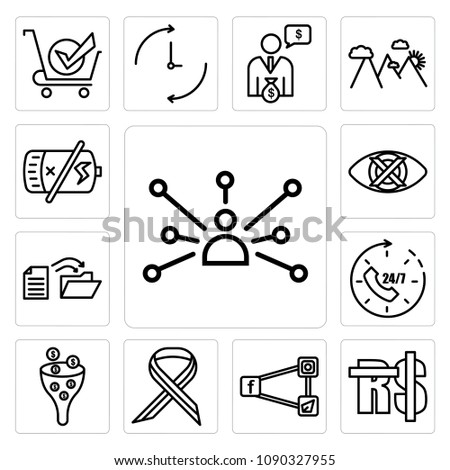 Set Of 13 simple editable icons such as cross channel, saudi riyal, generic social media, multiple sclerosis, sales pipeline, 24x7, data migration, discreet can be used for mobile, web UI, pixel perfect icons