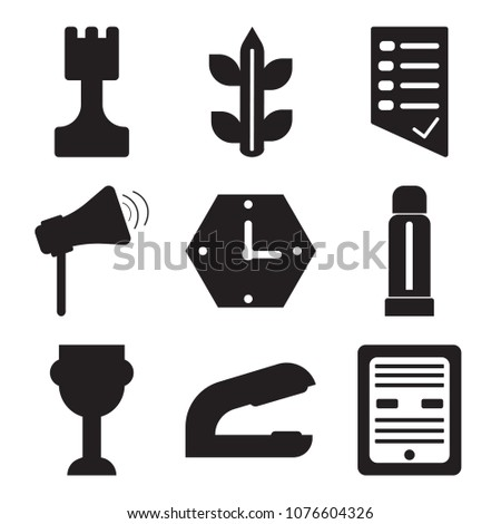 Set Of 9 simple editable icons such as Ebook, Stapler, Trophy, Glue stick, Clock, Physics, Test, Biology, Chess, can be used for mobile, web UI