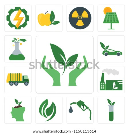 Set Of 13 simple editable icons such as Ecology, Test tube, Gas station, Leaf, Think, Factory, Garbage truck, Car, Lab, web ui icon pack #1150113614