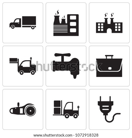 Set Of 9 simple editable icons such as electrical plug, truck, electric saw, bag, crane, lorry, factory, factory, truck, can be used for mobile, web UI, pixel perfect icons