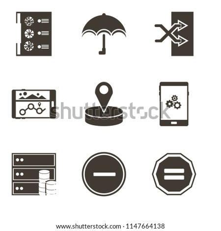 Set Of 9 simple editable icons such as Equal, Substract, Database, Smartphone, Placeholder, Navigation, Shuffle, Umbrella, Menu, can be used for mobile, pixel perfect vector icon pack