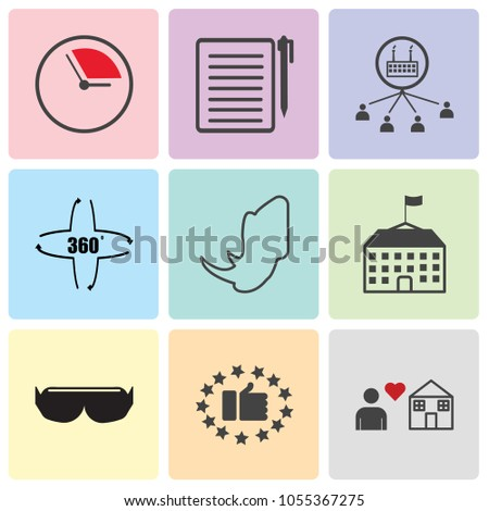 Set Of 9 simple editable icons such as fidelity, satisfied customer, vr headset, schoolhouse, rhino, 360 degree, inclusion, registration, pending, can be used for mobile, web UI, pixel perfect icons