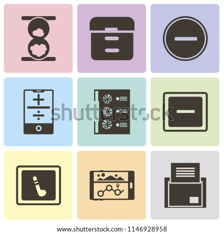 Set Of 9 simple editable icons such as Folder, Navigation, Music player, Minus, Menu, Smartphone, Substract, Archive, Hourglass, can be used for mobile, pixel perfect vector icon pack
