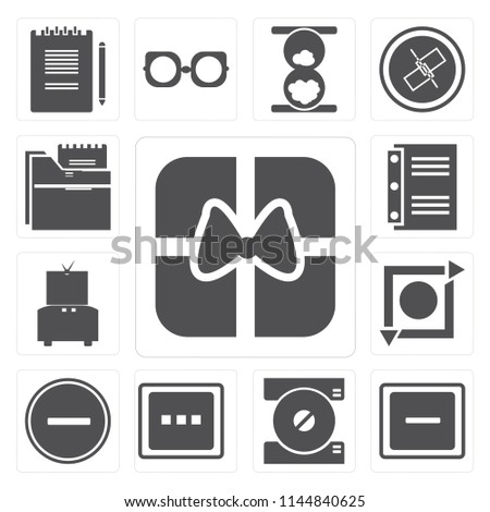 Set Of 13 simple editable icons such as Gift, Minus, Compact disc, More, Substract, Repeat, Television, Notebook, Folder, web ui icon pack