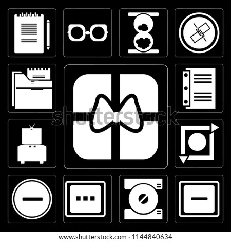 Set Of 13 simple editable icons such as Gift, Minus, Compact disc, More, Substract, Repeat, Television, Notebook, Folder on black background