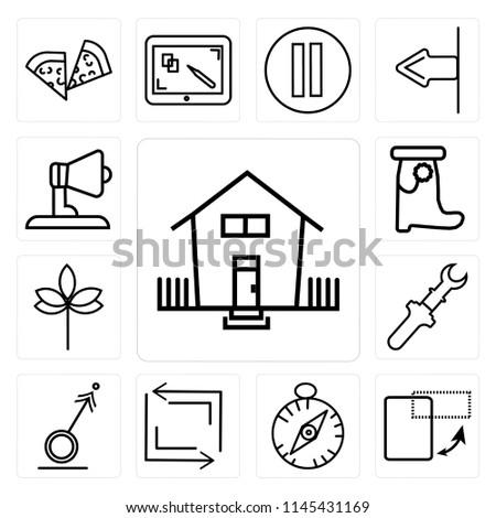 Set Of 13 simple editable icons such as Home button, Switch orientation Basic compass, Refresh Male, Spanner settings Sprig with five leaves, web ui icon pack
