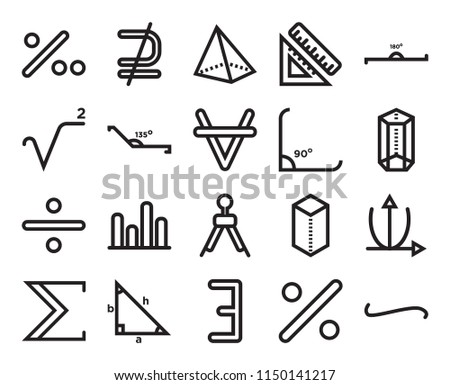 Set Of 20 simple editable icons such as Is not a subset, Percent, 180 degrees angle, Trigonometry, The sum of, Parabolic function, Obtuse angle of 135 degrees, web UI icon pack, pixel perfect