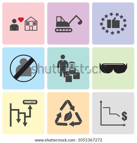 Set Of 9 simple editable icons such as low cost, waste management, prioritize, vr headset, inventory management, no image available, satisfied customer, backhoe, fidelity, can be used for mobile