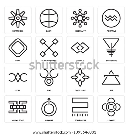 Set Of 16 simple editable icons such as Loyalty, Toughness, Uranus, Knowledge, Air, Good luck, Zinc, Still, Soapstone can be used for mobile, web UI, pixel perfect icons #1093646081