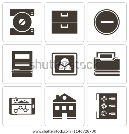 Set Of 9 simple editable icons such as Menu, Home, Navigation, Folder, User, Notebook, Substract, Archive, Compact disc, can be used for mobile, pixel perfect vector icon pack