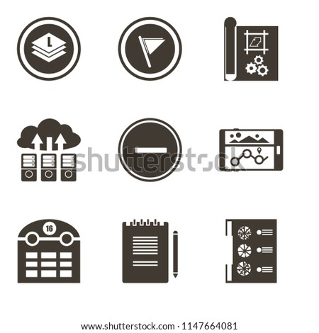 Set Of 9 simple editable icons such as Menu, Notepad, Calendar, Navigation, Substract, Cloud computing, print, Flag, Layers, can be used for mobile, pixel perfect vector icon pack