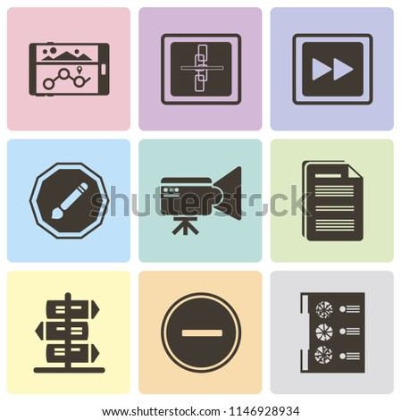 Set Of 9 simple editable icons such as Menu, Substract, Document, Video camera, Compose, Fast forward, Broken link, Navigation, can be used for mobile, pixel perfect vector icon pack