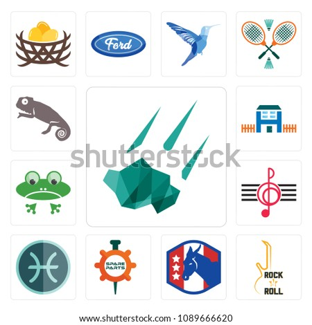 5b23445c9 Poster Set Of 13 simple editable icons such as meteorite, rock n roll,  democratic party ...
