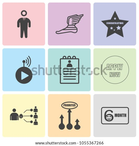 Set Of 9 simple editable icons such as 6 month, prioritize, supplier, apply now, roster, livestream, congrats, foot with wings, consider, can be used for mobile, web UI