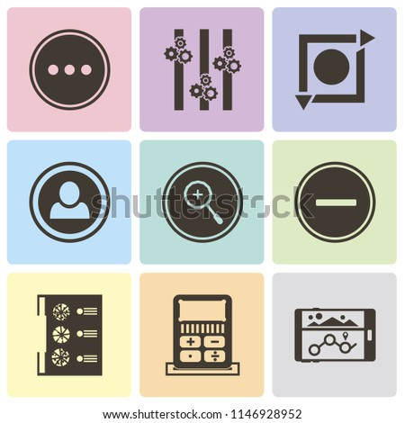 Set Of 9 simple editable icons such as Navigation, Calculator, Menu, Substract, Zoom in, User, Repeat, Controls, More, can be used for mobile, pixel perfect vector icon pack