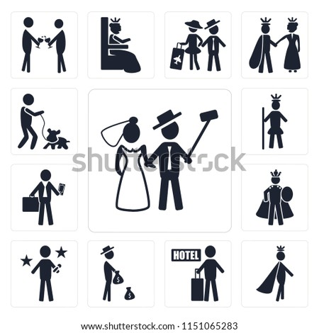 Set Of 13 simple editable icons such as Newlyweds, Prince, Hotel, Rich, Famous, Emperor, Business man, Royalty, Man and Dog, web ui icon pack #1151065283