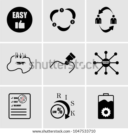 Set Of 9 simple editable icons such as operations, lower risk, procurement, facilities management, you are here, lake, b2b, ease of use, ease of use, can be used for mobile, web UI