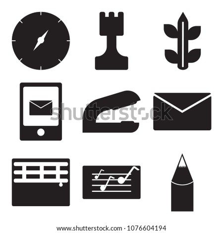 Set Of 9 simple editable icons such as Pencil, Folder, Screen, Grades, Stapler, Chalk, Biology, Chess, Orientation, can be used for mobile, web UI