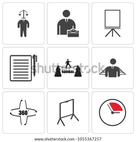 Set Of 9 simple editable icons such as pending, flipchart, 360 degree, honest, courage, registration, flipchart, internship, honest, can be used for mobile, web UI, pixel perfect icons