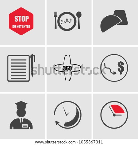 Set Of 9 simple editable icons such as pending, immediate, internship, low cost, 360 degree, registration, truffle, halal, do not enter, can be used for mobile, web UI, pixel perfect icons