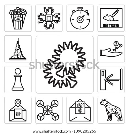 Set Of 13 simple editable icons such as pom pom, hyena, snail mail, free drone, zip code, turnstile, pawn shop, cost effective, burj khalifa can be used for mobile, web UI