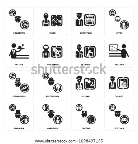 Set Of 16 simple editable icons such as Postman, Doctor, Gardener, Magician, Tourist, Policeman, Waiter, Stewardess, Plumber can be used for mobile, web UI #1098497135