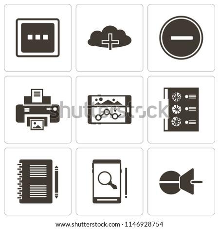 Set Of 9 simple editable icons such as Push pin, Smartphone, Notepad, Menu, Navigation, Print, Substract, Cloud computing, More, can be used for mobile, pixel perfect vector icon pack