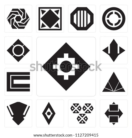 Set Of 13 simple editable icons such as Rhombus, Hexagons, Shield, Triangle, Abstract, Star, web ui icon pack #1127209415