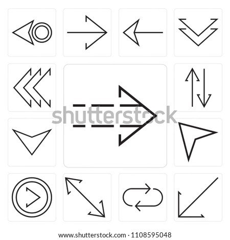 Set Of 13 simple editable icons such as Right arrow, Diagonal Repeat, Diagonal, Cursor, Down Sort, Left chevron, web ui icon pack #1108595048