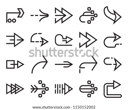 Set Of 20 simple editable icons such as Right arrow, web UI icon pack, pixel perfect #1150152002
