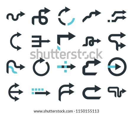 Set Of 20 simple editable icons such as Right arrow, web UI icon pack, pixel perfect